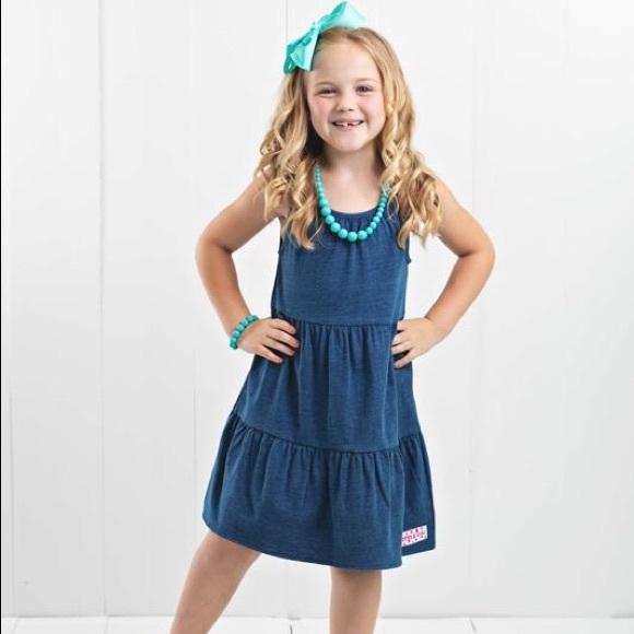 Ruffle Girl Faux Denim Tiered Ruffle Dress